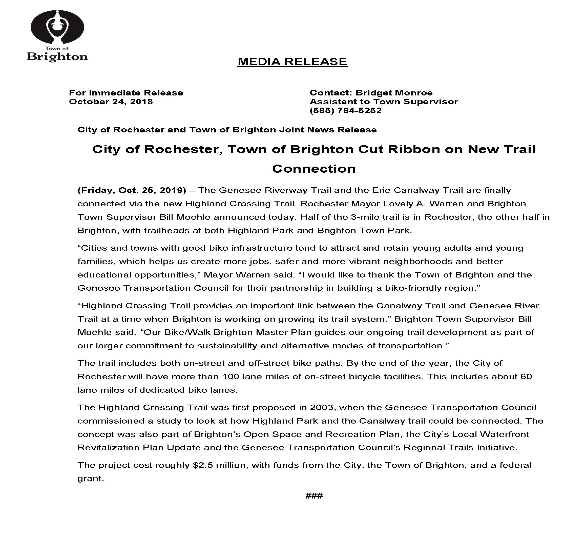 Highland Crossing Trail press release