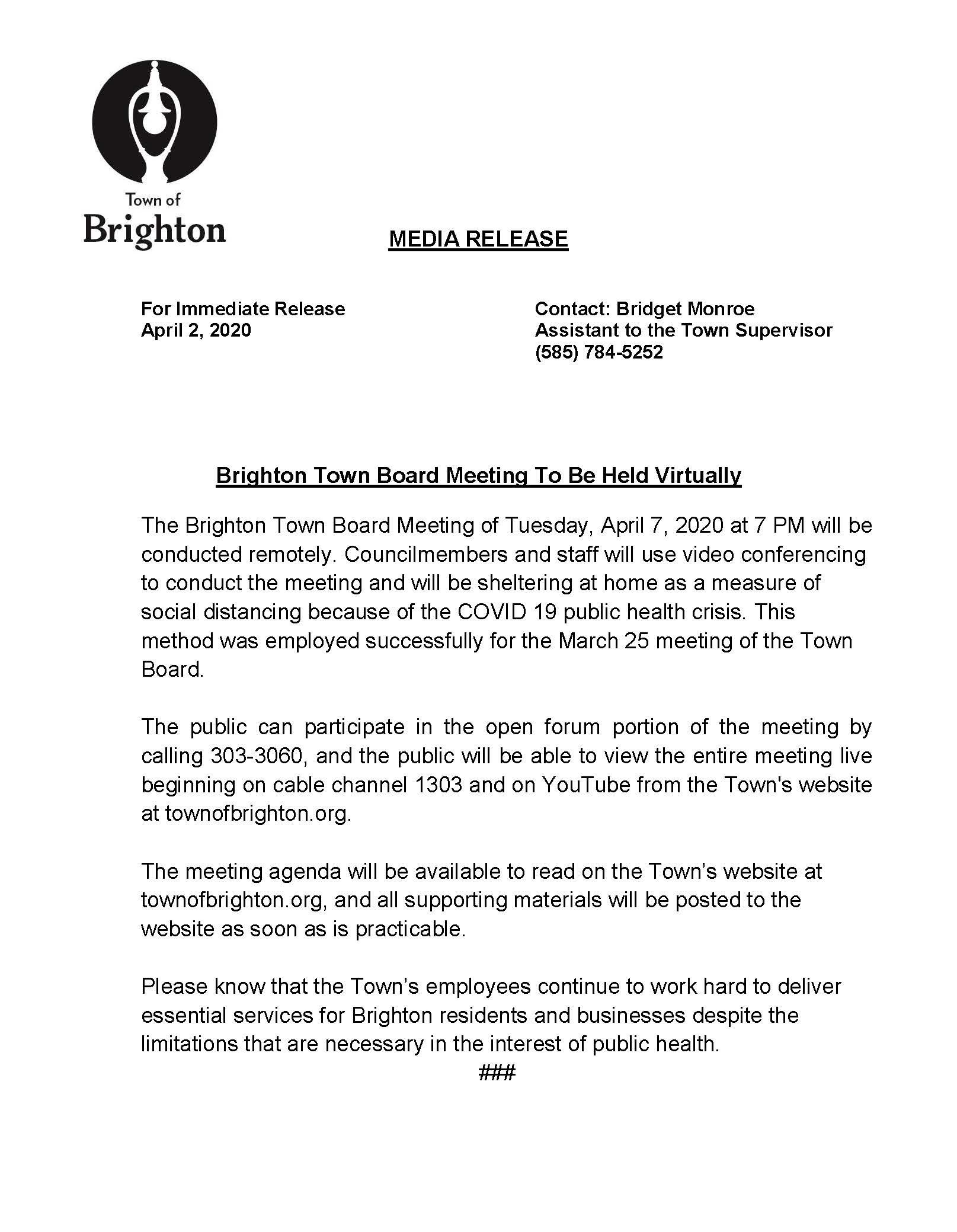 Zoom TB meeting April 7 press release