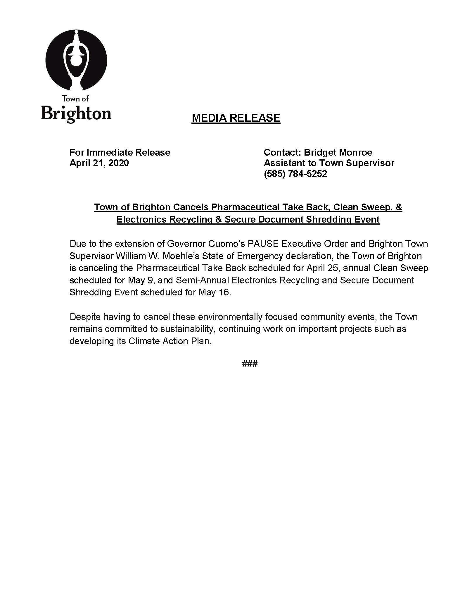 Clean sweep Recycling Pharma canceled Press release