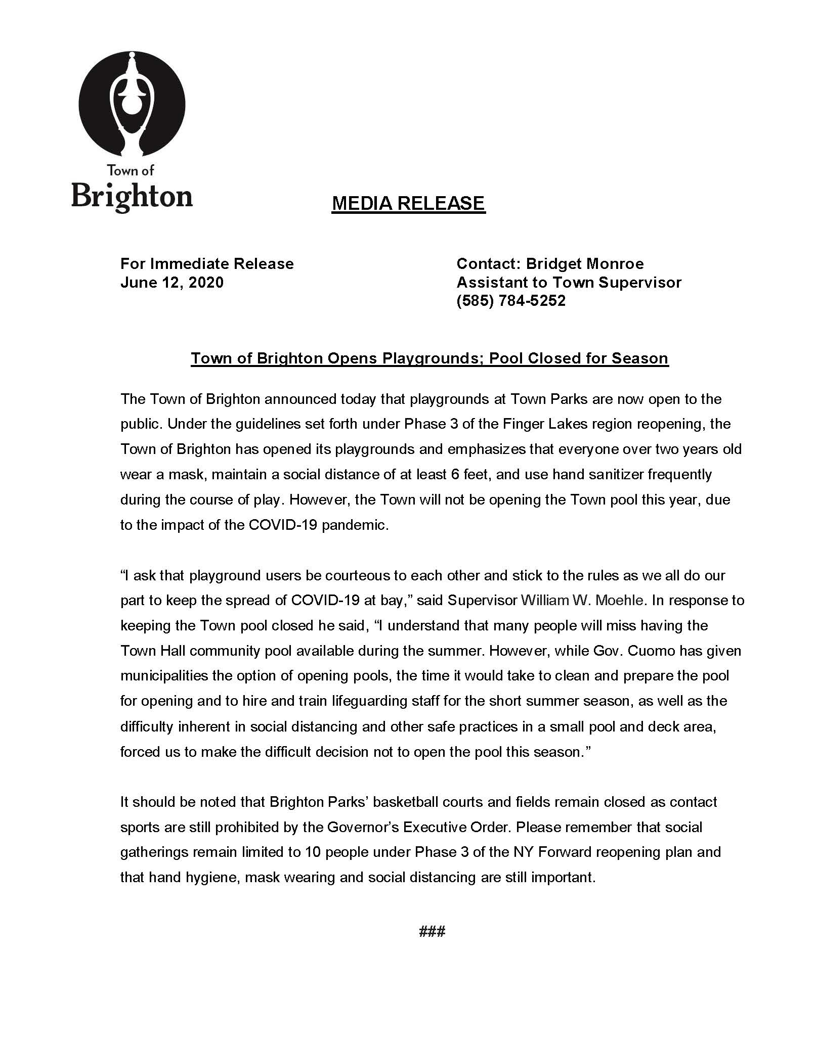 Brighton playgrounds pool press release